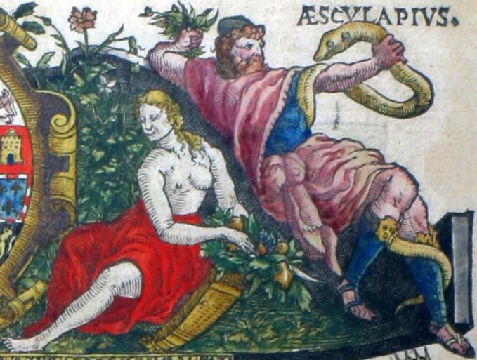 Aesculapius of Asklepios, zoon van Apollo, god van de geneeskunst, en Pomona. Pomona was een boomnimf, die zich geheel wijdde aan het verzorgen van haar tuin en het kweken van fruit