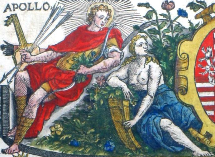 Apollo, god van de zon, maar ook van de muziek, en Flora. Flora was in het oude Rome de godin van de lente en de bloemen. In de Griekse mythologie was haar naam Chloris, 'de Groene', maar ze was weinig bekend bij de Grieken. In Rome werden jaarlijks ter ere van Flora de Floralia-lentefeesten gevierd. Tijdens deze zes dagen durende festiviteiten tooiden de Romeinen zich met bloemen en gingen ze uitgelaten en uitbundig tekeer.