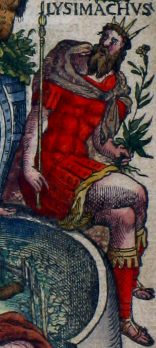 Lysimachus (355-281 v. Chr.), koning van Thracië en veldheer van Alexander de Grote, die, op instigatie van zijn derde vrouw Arsinoë, zijn zoon Agathocles liet vergiftigen. In zijn linkerhand draagt hij ofwel de plant waarmee hij zijn zoon om het leven bracht (welke is onbekend), ofwel het is een wederik: Lysimachus is de naamgever van het plantengeslacht