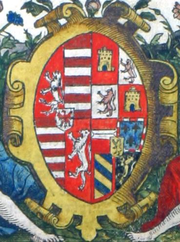 in een medaillon, het wapen van koningin Maria van Hongarije en Bohemen, regentes van de Nederlanden, aan wie het Cruijdeboeck is opgedragen
