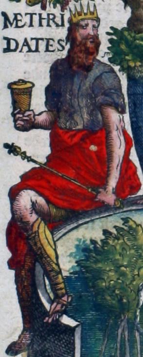 Methridates (Mithridates VI Eupator, ook wel Dionysius of Mithridates de Grote genoemd, 132-64 v. Chr.), koning van Pontus, die zo bang was dat hij vergiftigd zou worden dat hij zichzelf door middel van kruiden immuun voor vergif maakte en als gevolg daarvan zichzelf, toen hij wilde sterven, niet meer met vergif kon doden